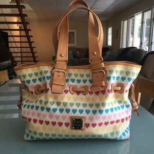 Dooney & Bourke Large Leather & Fabric Hearts Bag